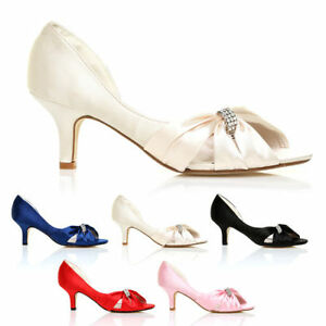 NEW WOMENS LADIES WEDDING BRIDAL SATIN PEEP TOE EVENING MID HEEL SHOES SIZE 3-8