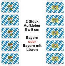 3 Stück Auto SUV Bus Handy Fahrad Aufkleber Fahnen Bavaria Bayern oder mit Löwen