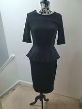 Womans black River Island Peplum Dress 12, long zip at the back