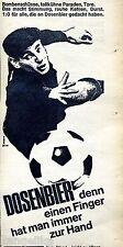 Dosenbier-einen Finger hat man immer zur Hand-Torwart-Weißblech-Werbung von 1967