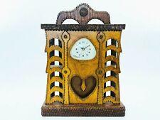 Mid Century Folk / Tramp Art Wood Carved Mantle Clock - Howard Finster Type