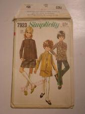 S-7923 Nehru Jacket Pants Skirt Sewing Pattern Simplicity Girl Size 8 Uncut
