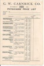 1921 G.W. Carnrick Co. Animal Gland Products Price List
