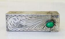 Vintage Art Deco Sterling Silver 800 Lipstick Holder Case Mirror Agate Stone