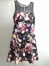 MARILYN MONROE Anthropologie Fit And Flare Stretch Floral Sheer Top Dress M
