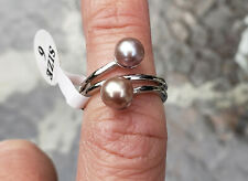 Brand New Vantel Pearls Whirlwind Ring with silver lavender pearls in a size 6