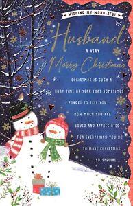 LARGER SIZE CARD WISHING MY WONDERFUL HUSBAND A VERY MERRY CHRISTMAS - SNOWMEN