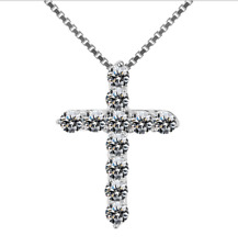 Crystal Cross Necklace 925 Sterling Silver Plate Crucifix Pendant Jesus Easter