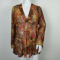Chico's 100% Silk Tunic Top Sz 2 Large Sheer Abstract V-Neck Long Sleeve Blouse