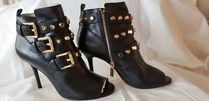 Michael Kors STUDDED STRAPPY  Ankle Boots Size 6M Black  MK LOGO Zip