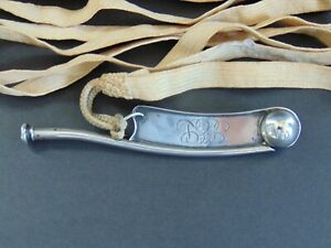 VINTAGE STERLING SILVER BOSUN'S WHISTLE / BOATSWAIN'S CALL / PIPE