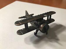 Vintage Die Cast Metal Bi-Plane Airplane Pencil Sharpener Made in Hong Kong