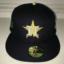 NWT New Era 59FIFTY MLB Houston Astros Cap Hat 7 3/8 USA 2017 GOLD RING CHAMPS