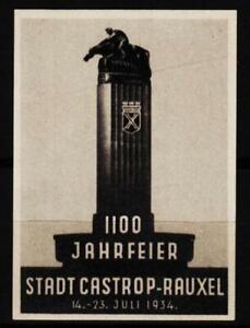 alte reklamemarke 1934 jub.1100jahrf.stadt castrop-rauxel, reiter-denkmal  /0926