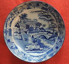 Large Antique Pearlware Plate Blue & White Transferware Bowl Saucer 19th c. 1825
