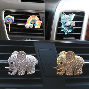 Cute Crystal Car Air Freshener Perfume Case Air Vent Clip Essential Oil Diffuser