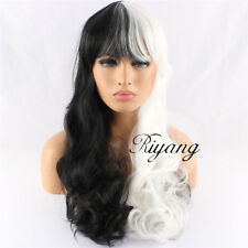 Black and White Cosplay Wigs Long Curly Wavy Hair Full Bangs Synthetic Natural