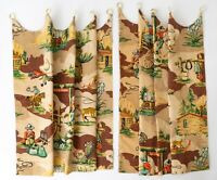 "1940s-50s Cowboy Theme Vat Printed Barkcloth Curtains ""Roundup"" 2 Panels 24"" Sq"
