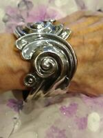 Gorgeous Taxco Sterling Silver Antonio Reina Clamp Hinged Bracelet Deco Inspired