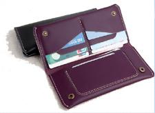 men women wallet purse cow Leather Bifold mobile iphone Holder bag purple z523