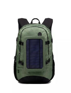 Solar Power Outdoor Hiking Backpack Green Breathable Laptop Bag. Fast Shipping!
