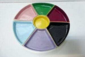 AUSTRALIAN POTTERY STUDIO CERAMIC ART HORS D'OEUVRES SERVING TRAY 7 SECTION