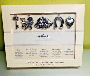 Hallmark Wedding Cake Ribbon Charms Gift Set of 5 Silver Bridal Shower Gift NIB