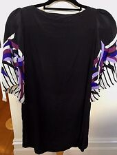 RUBY SMALLBONE Designer Black Silk Fluted Short Sleeve Open Scooped Back Top 6