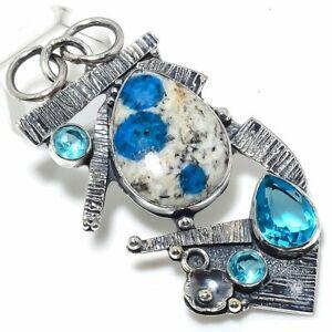 "K2 Jasper,Blue Topaz Gemstone Handmade 925 Silver Jewelry Pendant 2.64"""