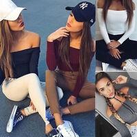 Women's Off Shoulder Casual Tank Top Vest Blouse Long Sleeve Slim Crop Top Shirt