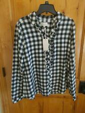 MELLO DAY SIZE S FLANNEL BLOUSE TOP BUTTON FRONT RUFFLE BLACK & WHITE CHECK COTN