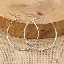 Large Sterling 925 Silver 4cm 40mm Hoop Sleeper Earrings