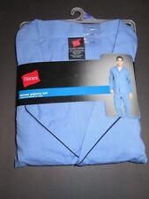 HANES mens woven pajama set solid blue 2pc 2XL size NWT *free shipp