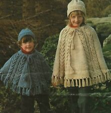 Girls Poncho & Hat Knitting Pattern with Cables and Fringe Aran 2-10 years1194