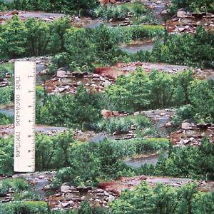 Landscape Medley Fabric - River Rocks Trees Green - Elizabeth's Studio YARD