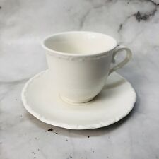Solecasa White Embossed Tea Coffee Cup Set 4 Saucers New