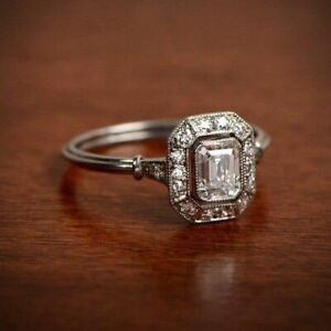Antique Art Deco 1.80CT Emerald Cut Diamond Engagement Ring 925 Sterling Silver