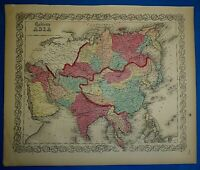 Antique 1860 Colton's Atlas Map ~ ASIA ~ Old & Authentic ~ Free S&H