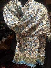Vintage Turquoise Paisley Cotton Scarf Shawl