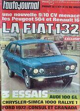 L'AUTO JOURNAL 1972 5 SIMCA 1000 RALLYE 1 AUDI 100 ALFASUD GP AFRIQUE DU SUD