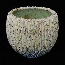 "Studio Art Ceramic 3.5"" Planter Pot. Textural Pale Green Signed O'Brien."