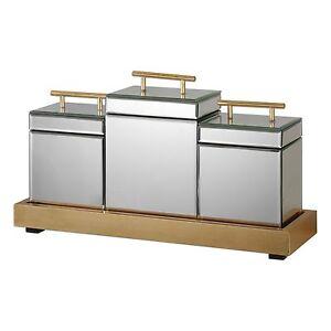 Retro Glam Mirrored Box Set w Tray | Gold Art Deco Hollywood Regency Trinket
