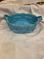 Blue Italian Fruit Big Basket Retro Fatto A Mano Sky Blue Studio Art Clay Woven