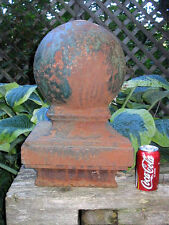 Antique Architectural Victorian Cast Iron Garden Gate Sphere Ball Finial Globe