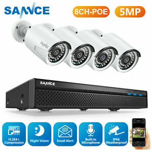 SANNCE 5MP 8CH NVR POE Security System 5MP Video IP Camera Audio Recording Home