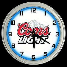 "16"" Coors Light Beer Sign Blue Neon Clock Man Cave Garage Bar Game Room"