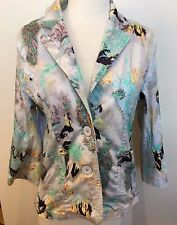 BLUE ILLUSION Quality Multicolored Cotton Long Sleeve Fitted Blazer Jacket S M