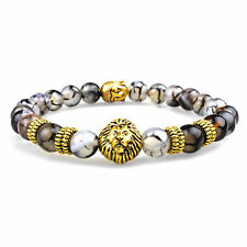 Men's Natural Black Lava Stone Bead Gold Lion Buddha Beaded Charm Bracelet 8mm