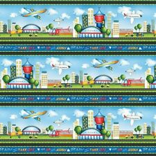 Ready for Takeoff Fabric - Airplane City Airport Stripe - Wilmington YARD