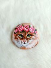 Hand Painted Realistic Cat Face w Flowers On Natural Rock Stone Art Paperweight